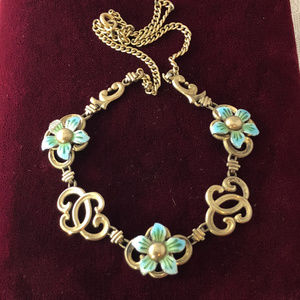 Vintage 1930s Enamel Flowers Gold Vermeil Necklace